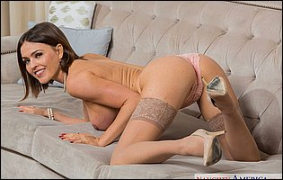 Krissy Lynn in pink underwear, sexy nylons and heels loves to tease