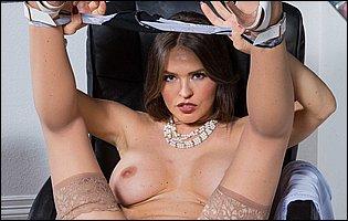 Lusty teacher Krissy Lynn stripping and teasing in classroom