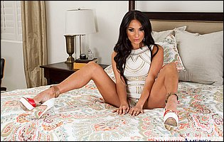 Anissa Kate strips off her sexy white dress and exposes hot body in bedroom