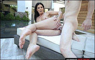 Gorgeous MILF India Summer fucking with handsome young guy by the pool