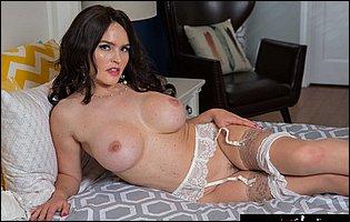 Hot brunette MILF Krissy Lynn posing in sexy underwear and nylons