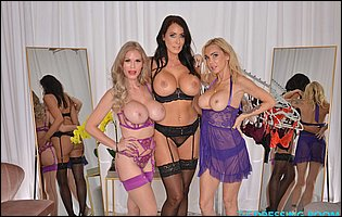 Three hot MILFs Casca Akashova, Devon and Reagan Foxx in sexy lingerie and stockings posing for camera