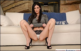 India Summer in black high heels loves showing her perfect body