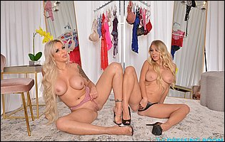 Two sexy blondes Katie Morgan and Nina Elle teasing with hot bodies