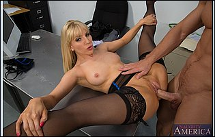 Lusty blonde Ashley Fires fucking her co-worker in the office