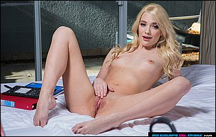 Young blonde Kenna James strips and poses nude for you