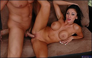 Audrey Bitoni spreads legs to take a big cock in her cunt