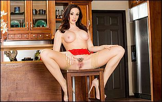 Chanel Preston in red underwear and sexy nylons teasing in the kitchen
