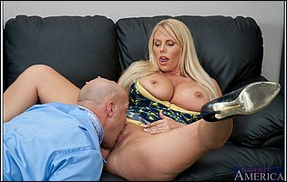 Horny blonde Karen Fisher getting banged hard by her bald co-worker
