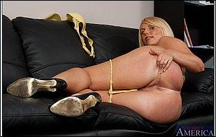 Karen Fisher in black high heels teasing with hot body in the office