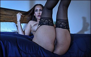 Isis Love in black stockings and red heels likes teasing