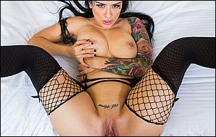 Katrina Jade in fishnet stockings and high heels giving head and getting banged