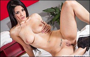 Katrina Jade takes off her black t-shirt, denim shorts and red underwear