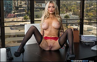 Linzee Ryder in red underwear, black stockings and heels posing for you in the office