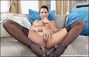 Lezley Zen in sexy underwear, black stockings and heels likes teasing