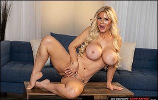 Busty blonde MILF Casca Akashova teasing with hot nude body