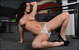 Sexy cop Jayden Jaymes strips in the office