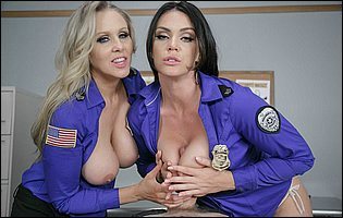 Security officers Alison Tyler and Julia Ann fucking a big dick
